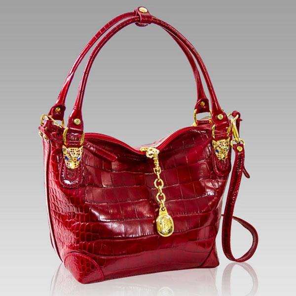 Marino Orlandi Designer Red Croc Leather Crossbody Bag W Leopard Heads