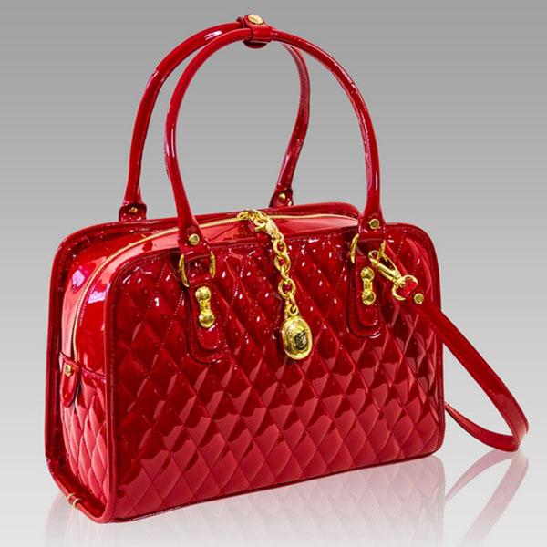 Marino Orlandi Designer Red Patent Chanel Leather Purse Structured Bag