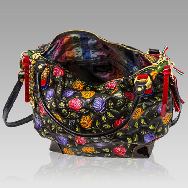 ... Marino Orlandi Designer Handpainted Red Roses Leather Large Purse Bag  ... 91ca379734ff0