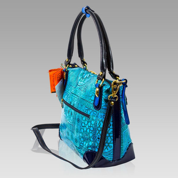 Marino Orlandi Designer Blue Patent Abstract Printed Leather Purse Bag