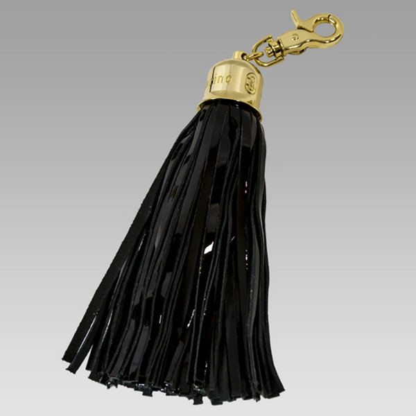 Marino Orlandi Designer Signature Large Brown Leather Tassel Keychain