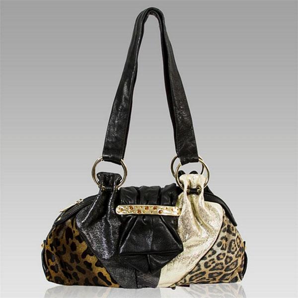 Renato Angi Patchwork Black Leather Jeweled Purse Bag