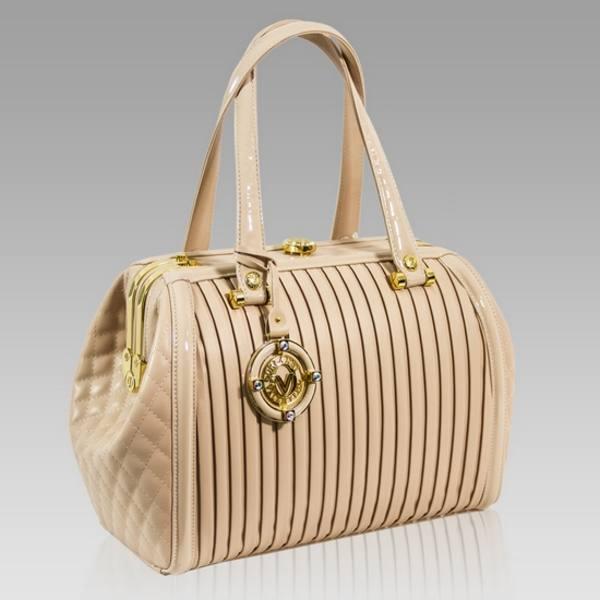 Valentino Orlandi Designer Rose Plisse Textured Leather Jeweled Purse