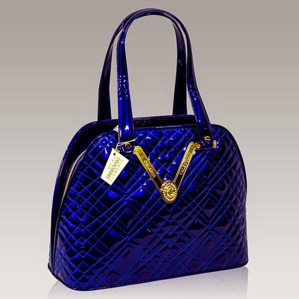 8c1cd3ac59bd Valentino Orlandi Designer Cobalt Quilted Leather Gilded Bowling Bag ...