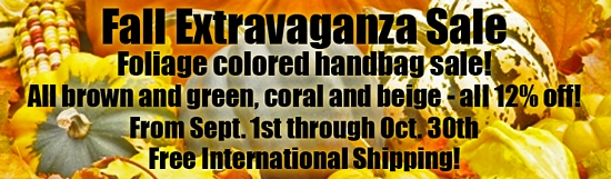 Fall Extravaganza Sale - All brown and green, coral and beige -