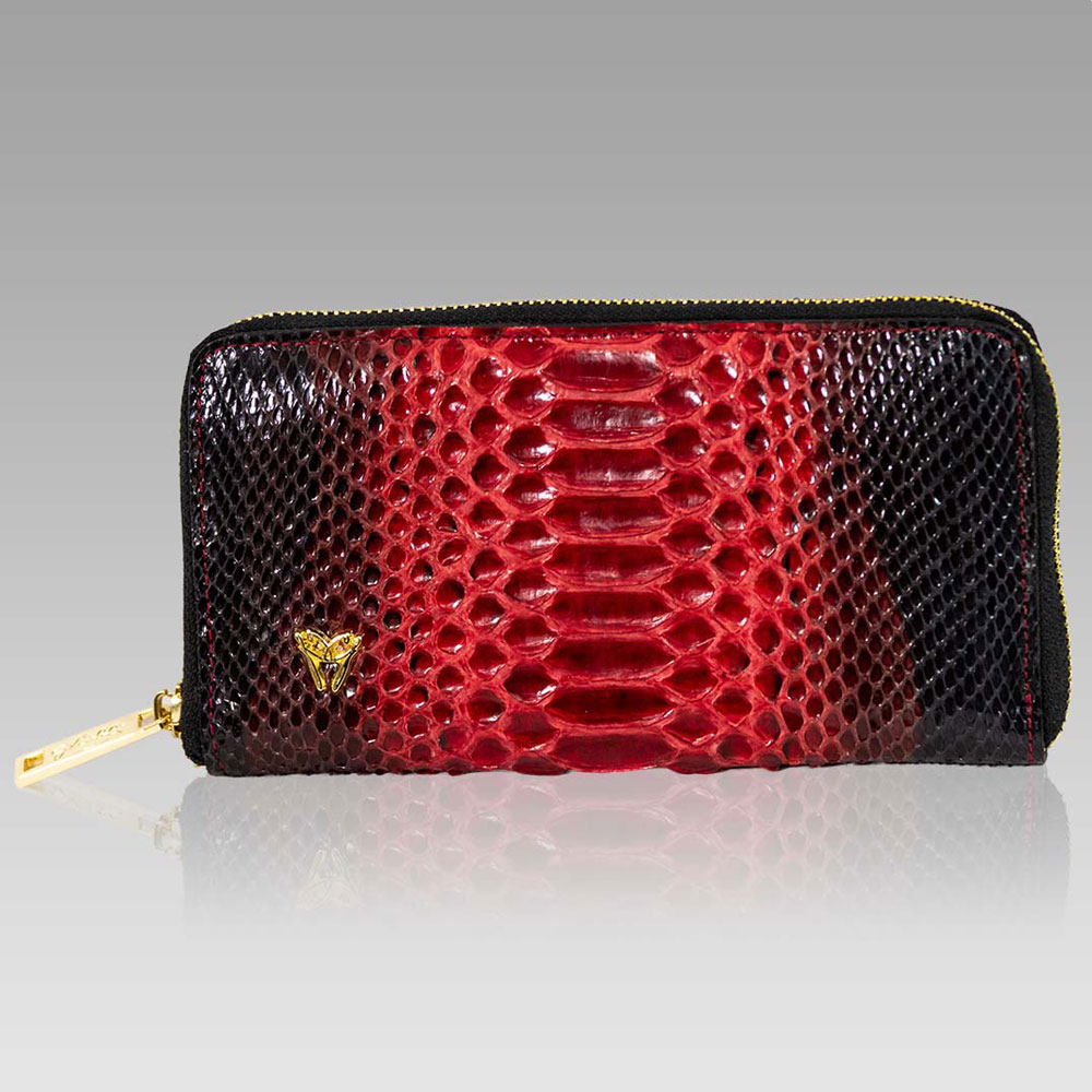 Ghibli Large Wallet Python Leather Ziparound Clutch Purse in Ruby Red