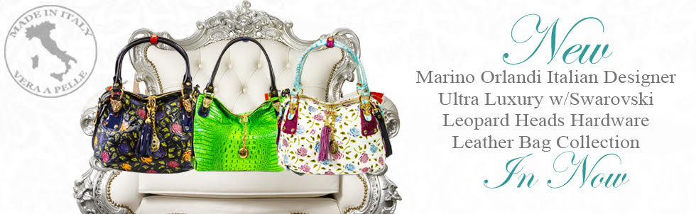 New Marino Orlandi Italian Designer Ultra Luxury w/Swarovski Leopard Heads Hardware Leather Bag Collection In Now
