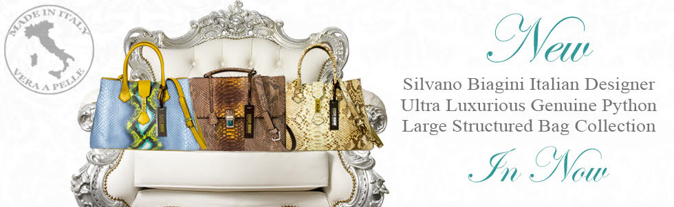 New Silvano Biagini Italian Designer Ultra Luxurious Genuine Python Large Structured Bag Collection In Now