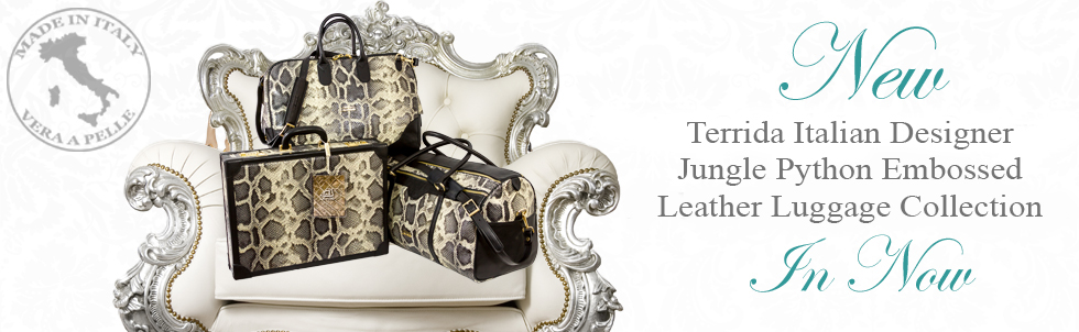 New Terrida Italian Designer Jungle Python Embossed Leather 