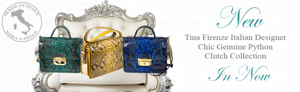New Tina Firenze Italian Designer Chic Genuine Python Clutch  Collection In Now