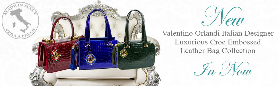 New Valentino Orlandi Italian Designer Luxurious Croc Embossed Leather Bag Collection In Now