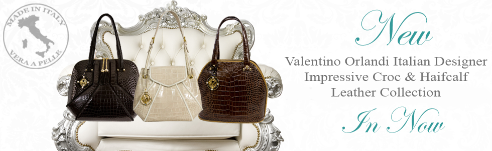 New Valentino Orlandi Italian Designer Impressive Croc & Haircalf Leather Collection