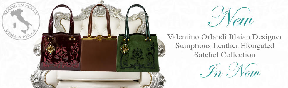 New Valentino Orlandi Itlaian Designer Sumptious Leather Elongated Satchel Collection In Now