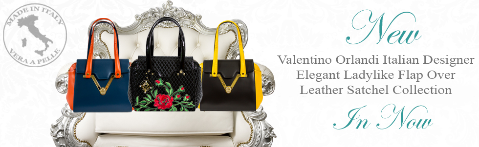 New Valentino Orlandi Italian Designer Elegant Ladylike Flap Cover Leather Satchel Collection