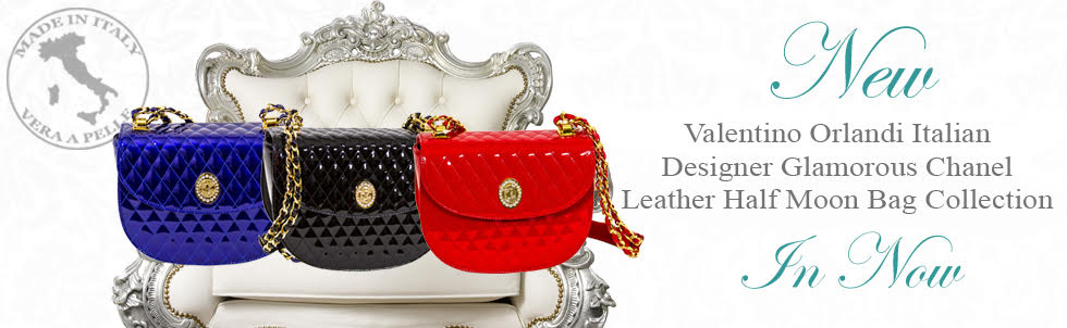 New Valentino Orlandi Italian Designer Glamorous Chanel Leather Half Moon Bag Collection In Now