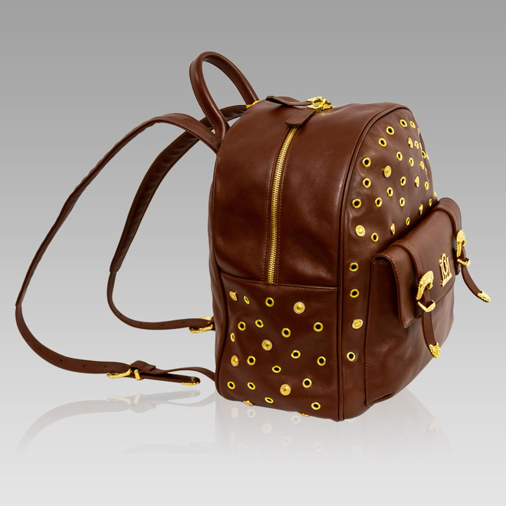 Valentino Orlandi Maroon Leather Large Sling Backpack Bag w/Studs