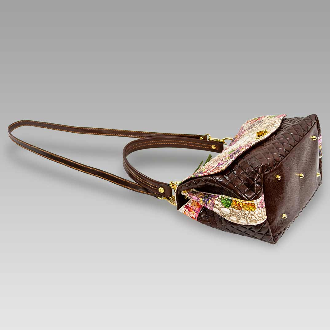 Marino Orlandi Handbag Purse Antique Floral Croc Leather Messenger Bag