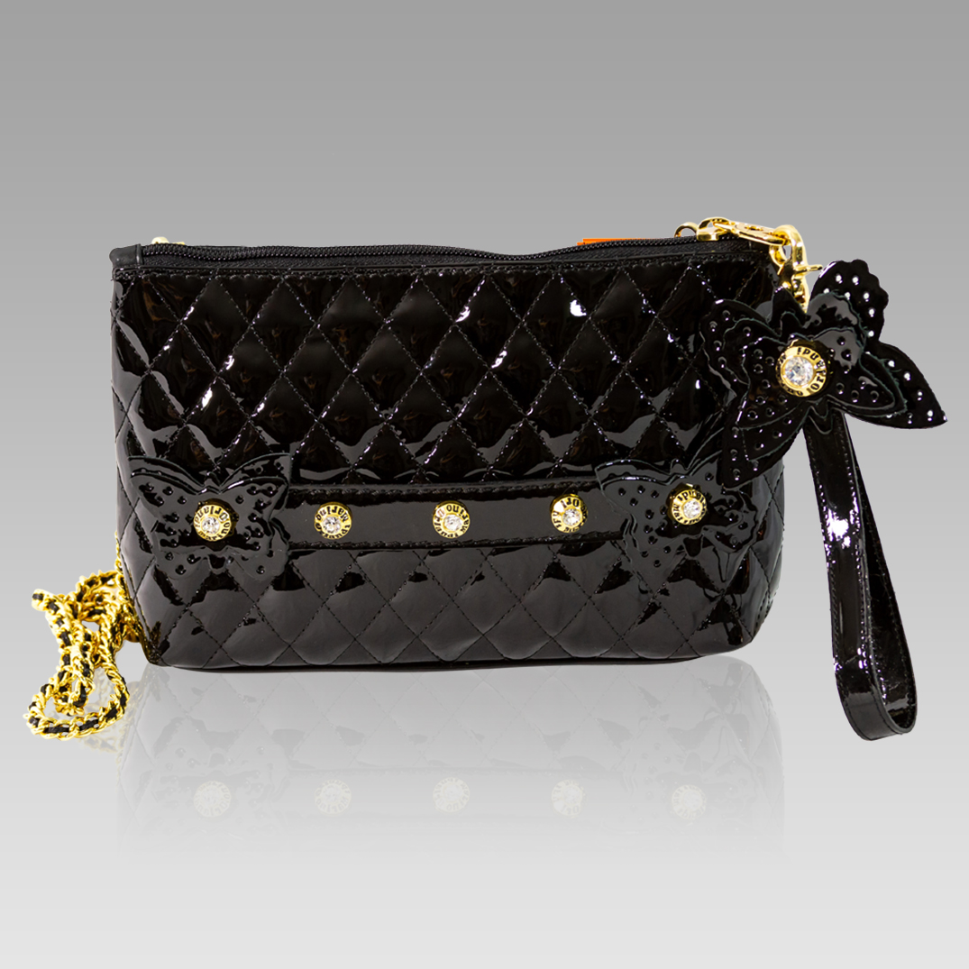Marino Orlandi Black Chanel Leather Clutch Evening Bag w/Butterflies