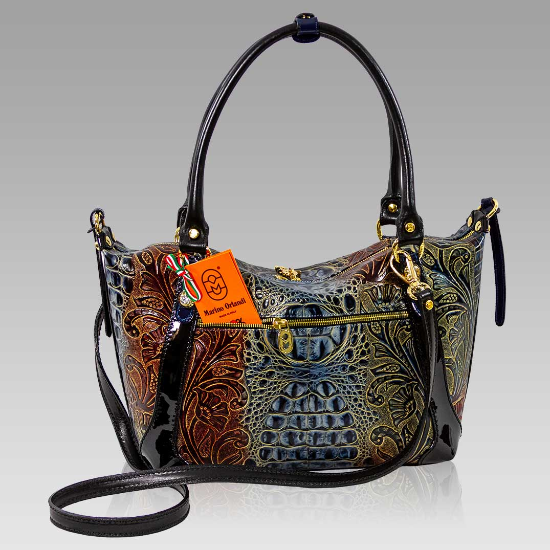 Marino Orlandi Tote Purse Embroidered Blue Croc Lether Crossbody Bag