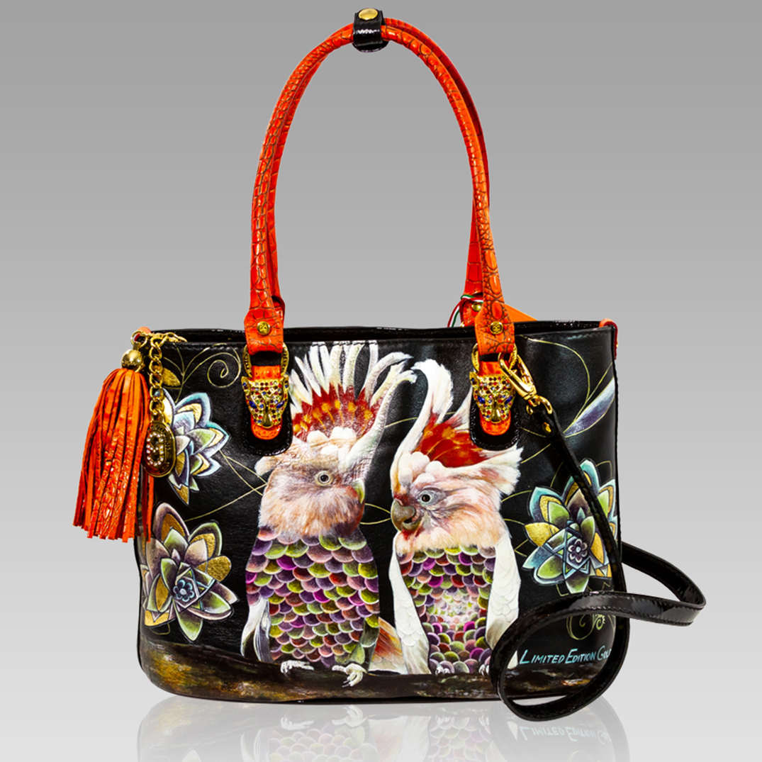 Marino Orlandi Handpainted Parrots Leather Tote Purse Crossbody Bag