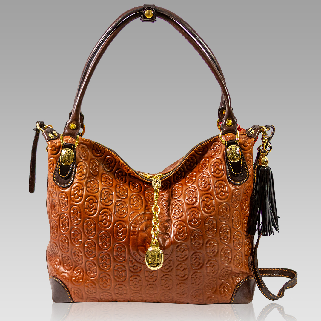 Marino Orlandi Monogram Cognac Leather Oversizeed Hobo Crossbody Bag
