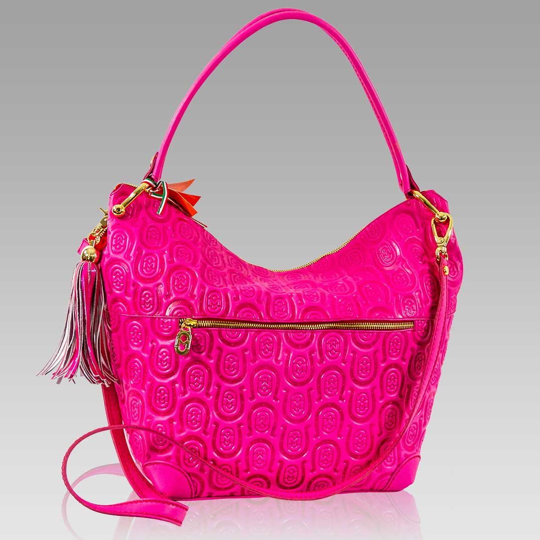 Marino Orlandi Fuchsia Horseshoe Embossed Leather Large Hobo Bag
