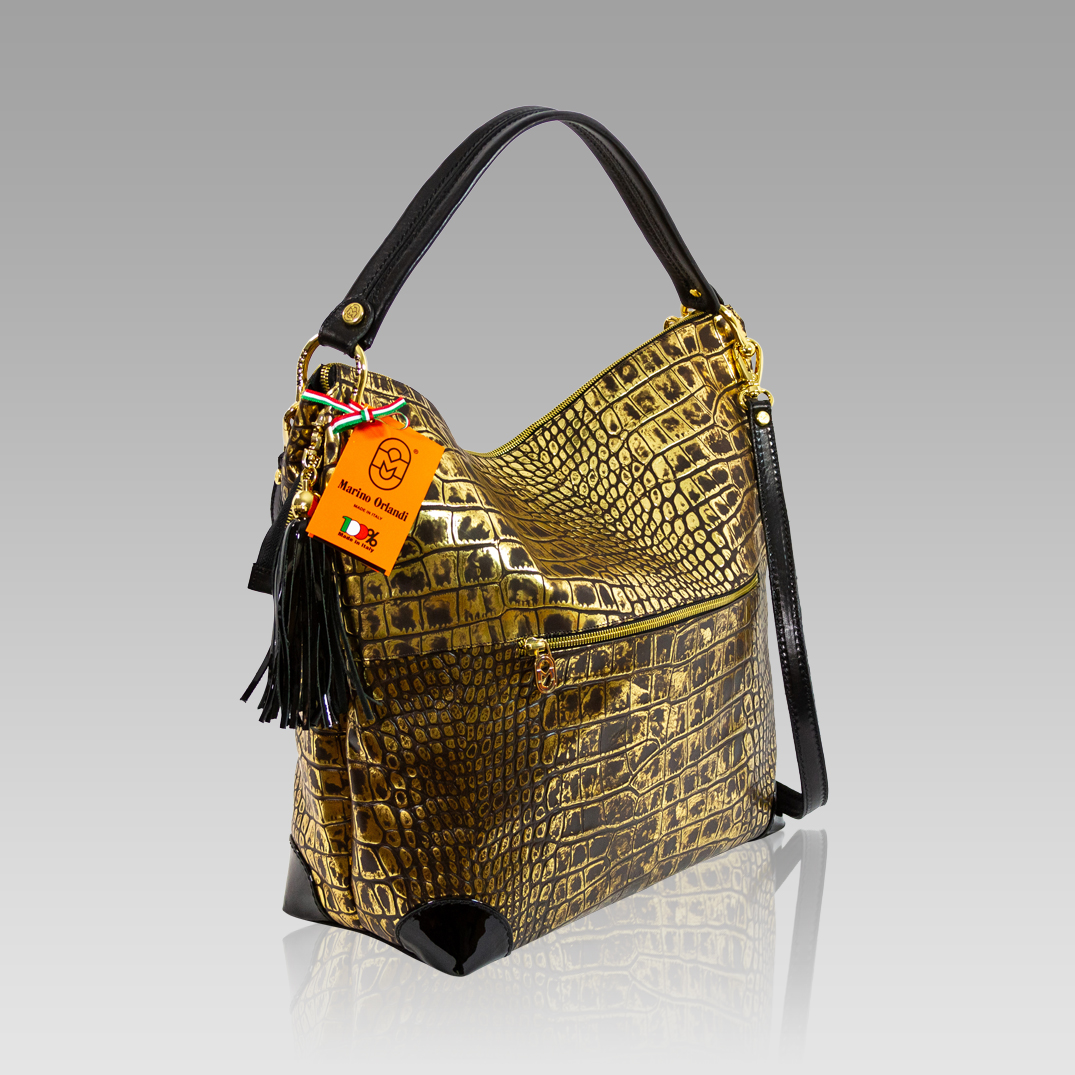 Marino Orlandi Large Handbag Croc Embossed Anitque Bronze Leather Bag