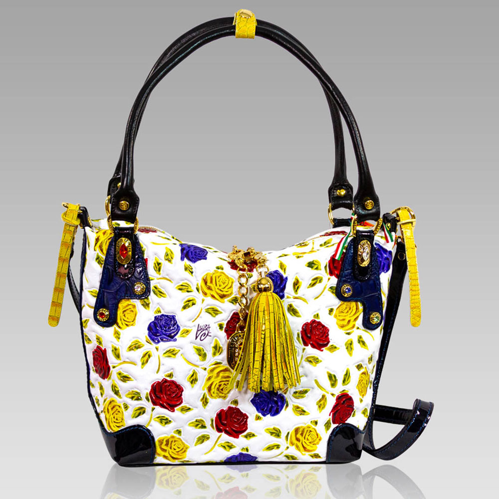 764e61e95 Marino Orlandi Handpainted Yellow Roses Leather Purse Crossbody Bag Marino  Orlandi + Crossbody Bag + Handpainted Yellow Roses Leather Purse  [01MO4408HLWH] ...