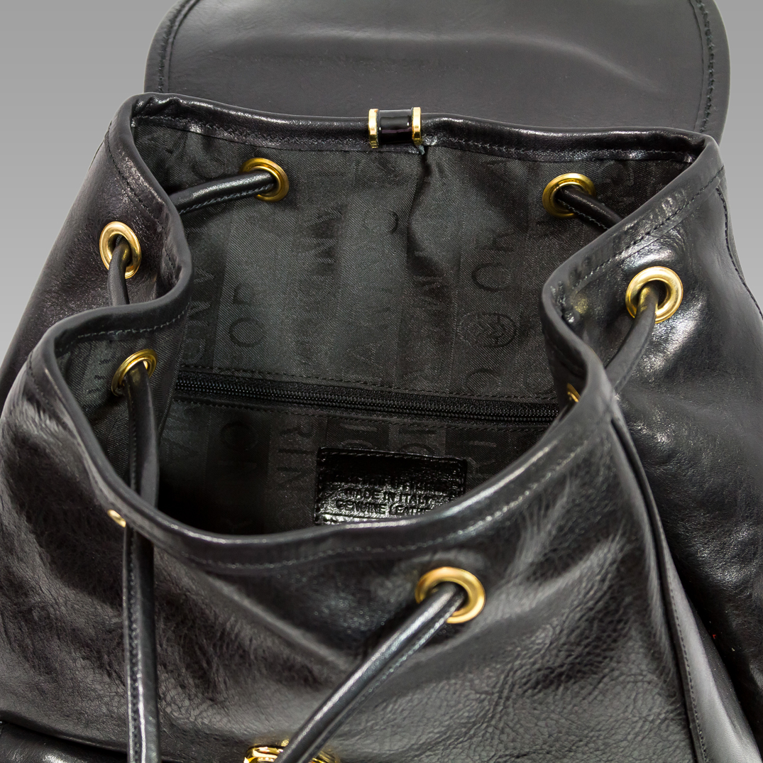 Marino Orlandi Designer Black Leather Mens Rugged Travel Backpack