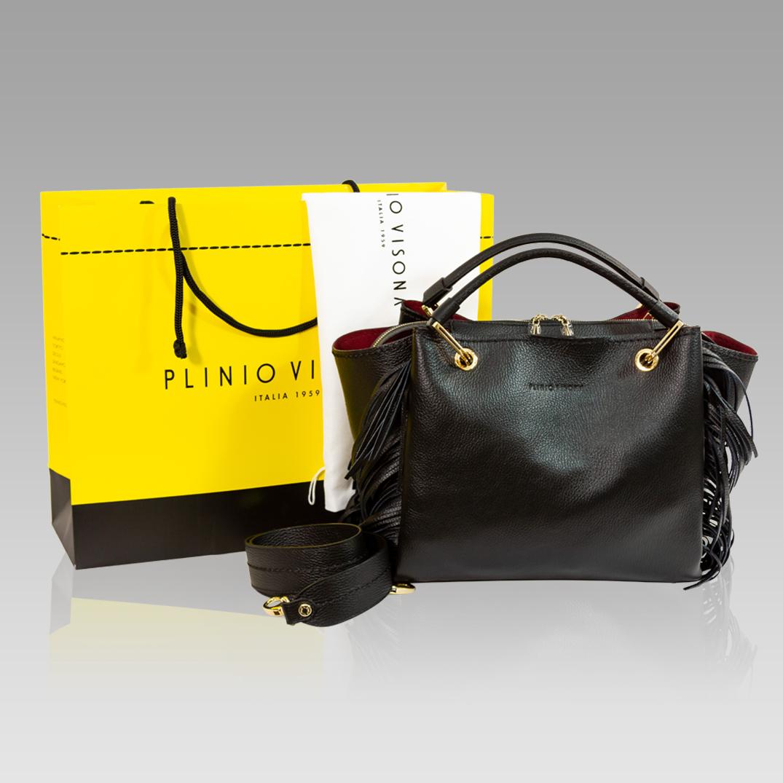 81e0a4f28fd Plinio Visona Black Leather Purse Tote Crossbody Bag w/ Fringe Plinio  Visona + Crossbody Bag with Fringe+ Leather Purse Tote [01PV18723GLBL] -  $575.00 ...