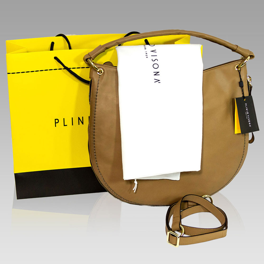 Plinio Visona Large Handbag Purse Leather Crossobody Bag in Camel