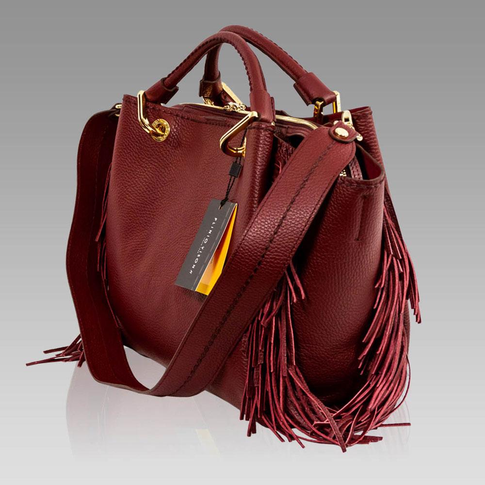 9ec2a8e2242a6 ... Plinio Visona Marsala Red Leather Fringe Crossbody Bag   Wallet Set ...