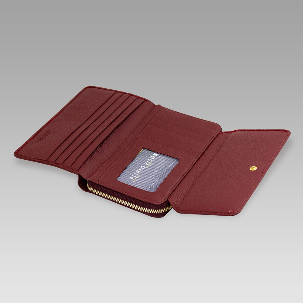 Plinio Visona Marsala Red Leather Large Foldover Clutch Wallet Purse