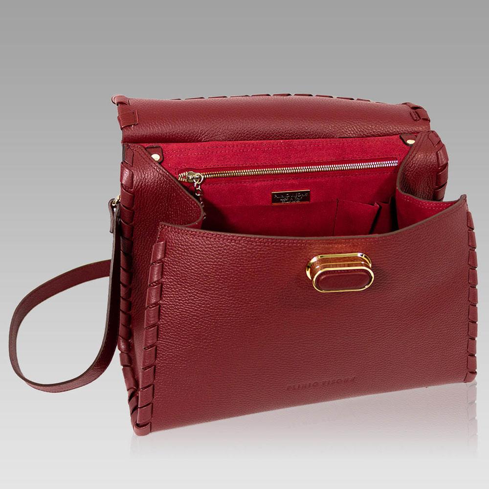 69d092e341e55 ... Plinio Visona Marsala Red Leather Statement Purse Crossbody Bag ...