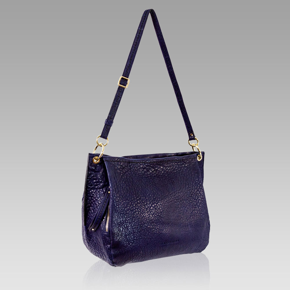 Plinio Visona Large Handbag Tote Purse Leather Crossbody Bag in Navy