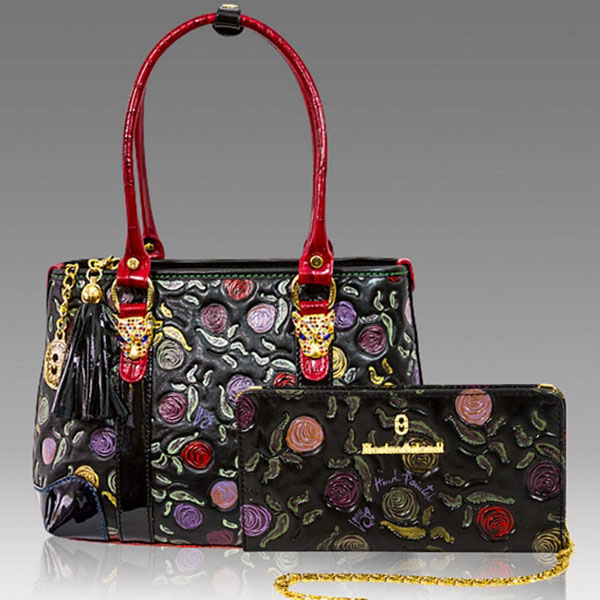 310f403c44 Marino Orlandi Designer Handpainted Roses Leather Tote & Wallet Set ...