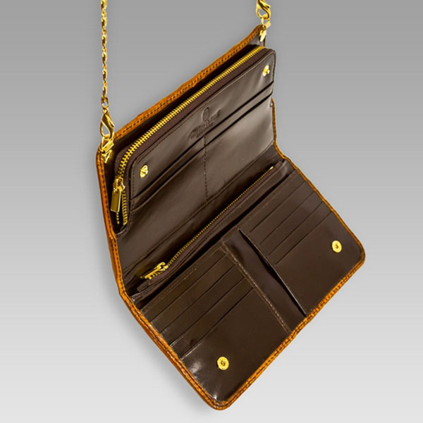 Marino Orlandi Designer Cognac Alligator Leather Crossbody