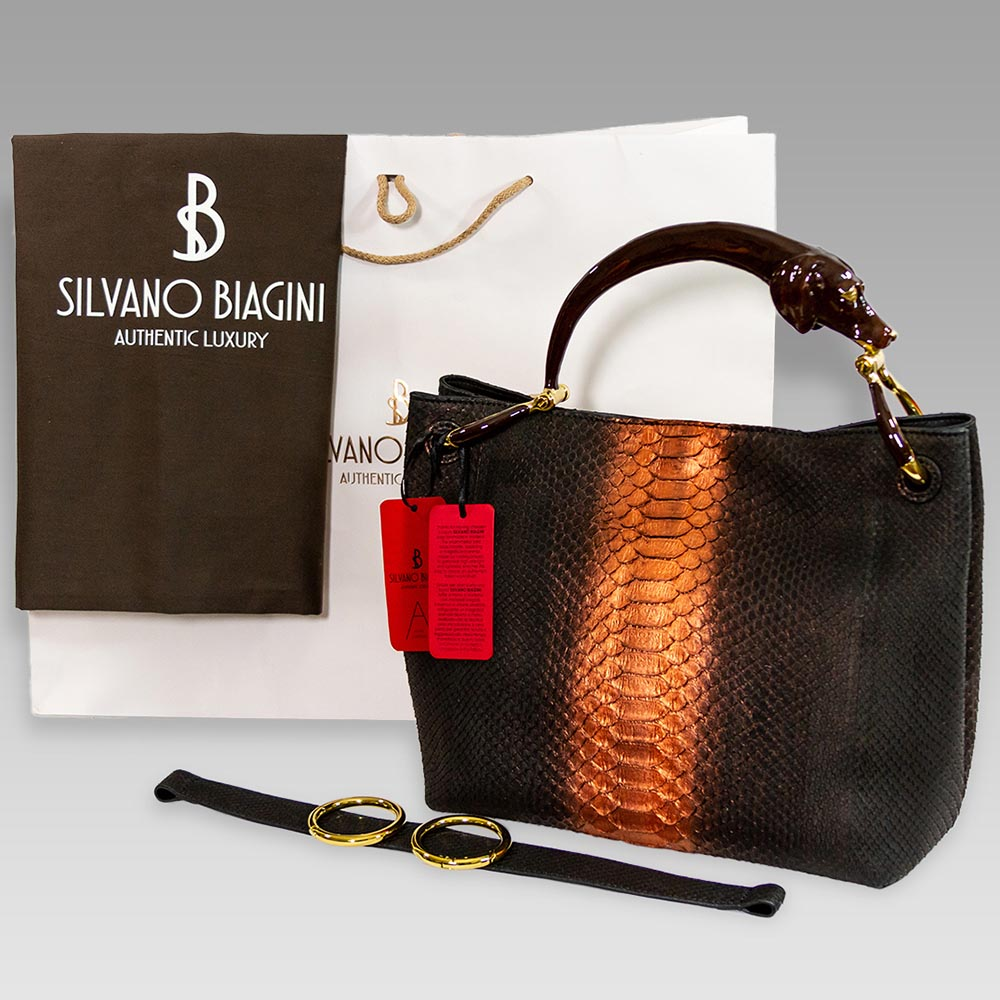 Silvano Biagini Chocolate Opal Python Leather Bag Dog Handle & Wallet