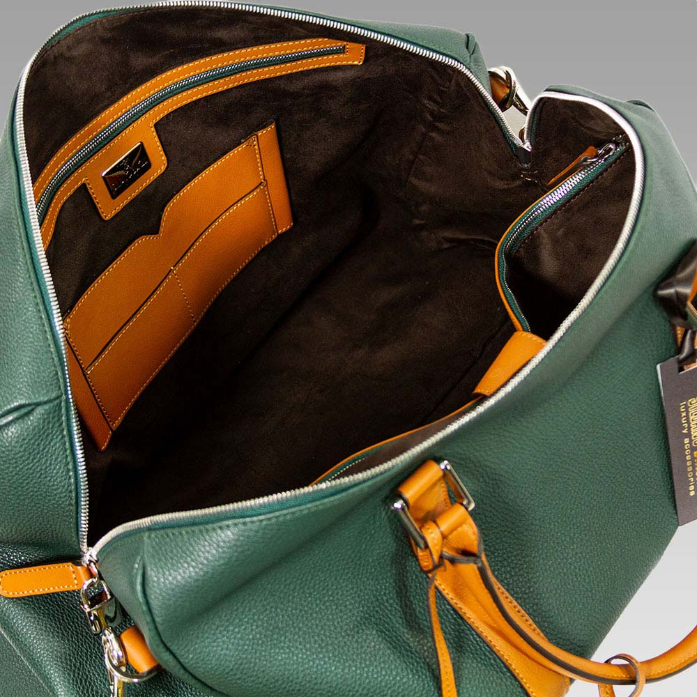 Silvano Biagini Men's Luggage Duffle Leather Carryon On in Green/Tan