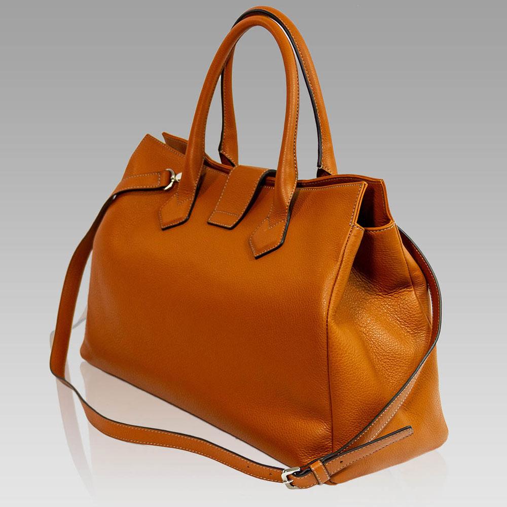 Silvano Biagini Large Handbag Tote Purse Leather Bag In Hermes Orange Satchel Designer 01sb8715glor 456 50 Custom