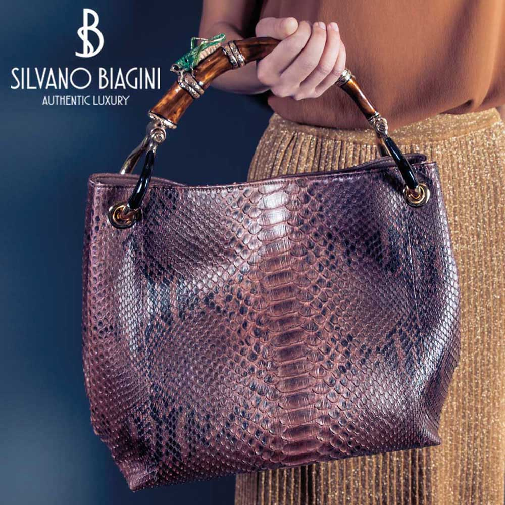 Silvano Biagini Large Python Leather Bag in Citrine Seashel Handle