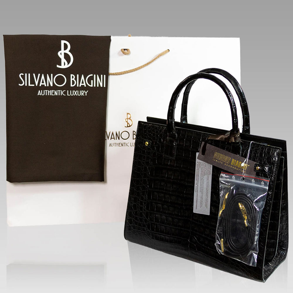Silvano Biagini Onyx Real Crocodile Leather Large Top Handle Bag