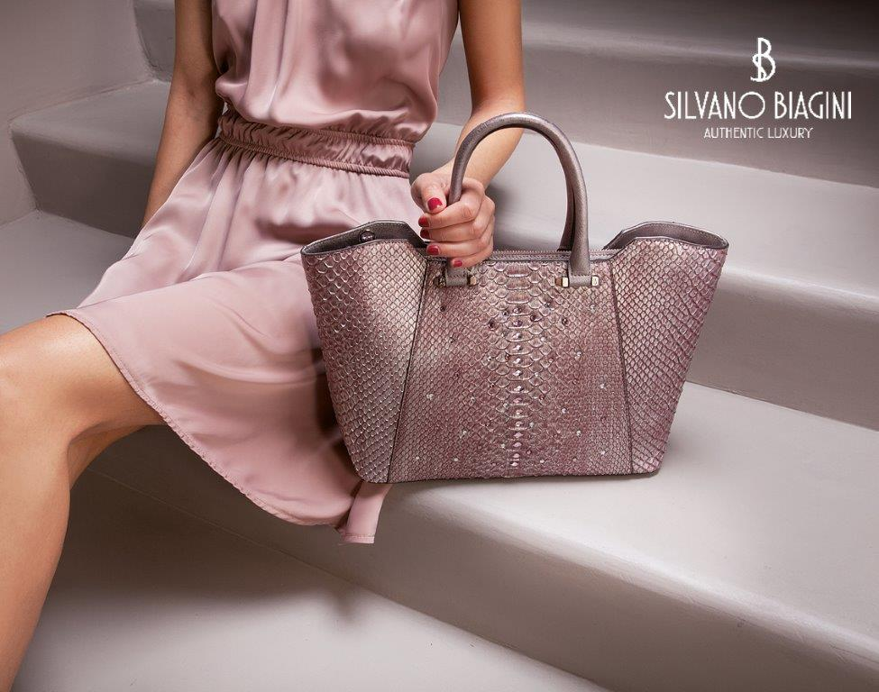 Silvano Biagini Tourmaline Genuine Python Leather Swarovski Large Bag