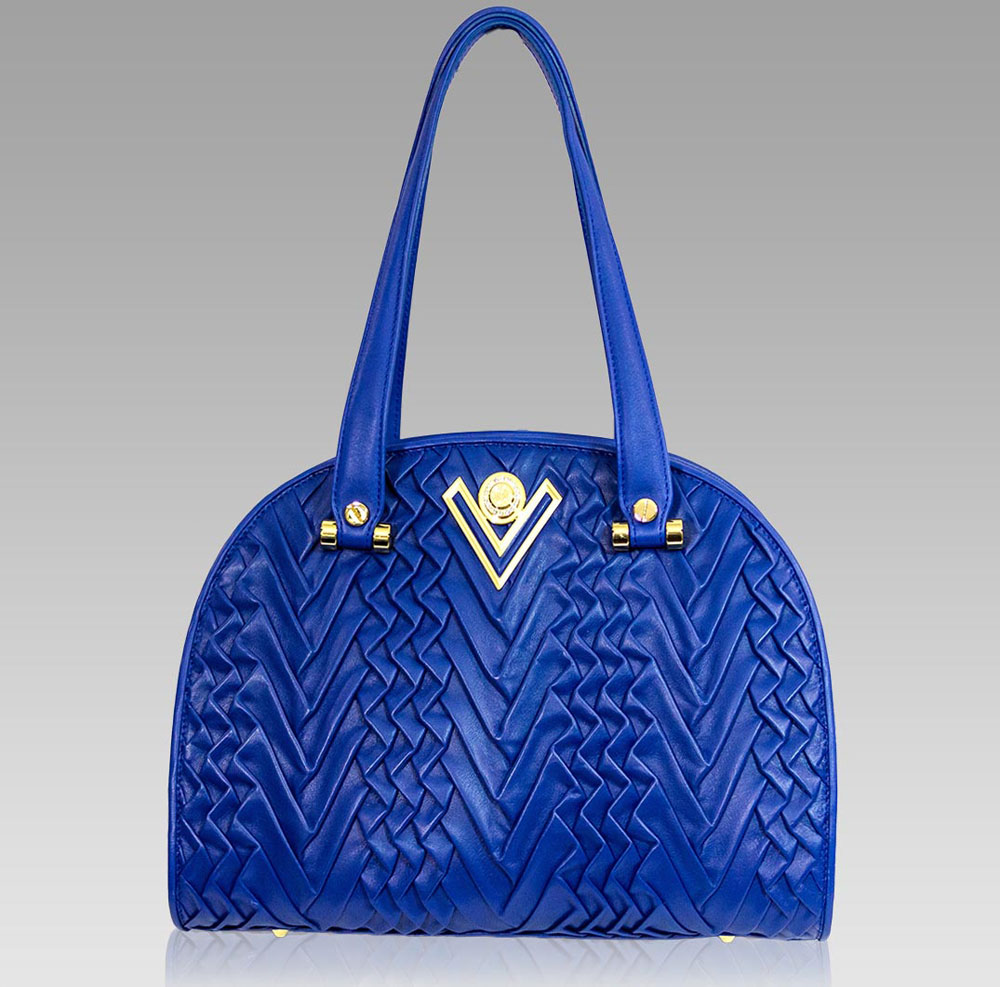 Valentino Orlandi Handbag Purse Bowling Bag in Ripe Bluberry Leather