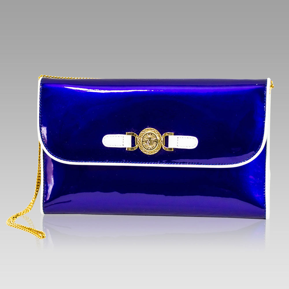 Valentino Orlandi ICobalt Blue Leather Large Wallet Clutch w/Chain