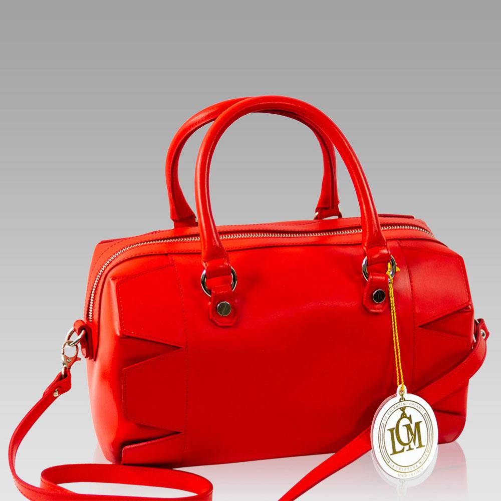 11a9faccc7c Valentino Orlandi Coral Red Leather Studded Barrel Top Handle Bag Valentino  Orlandi + Studded Barrel Crossbody Bag + Leather [01VOLCM1000GLRD] - ...