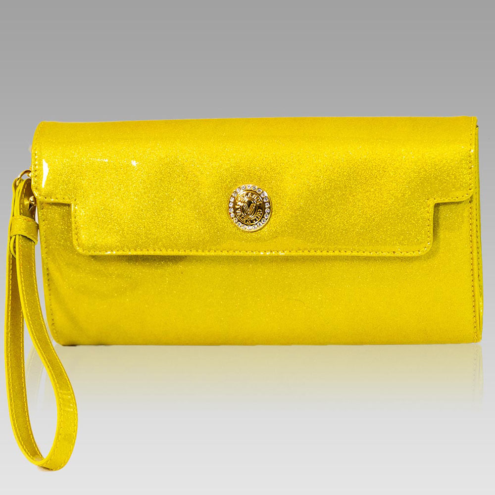 Valentino Orlandi Metallic Yellow Leather Clutch Wristlet Purse Bag