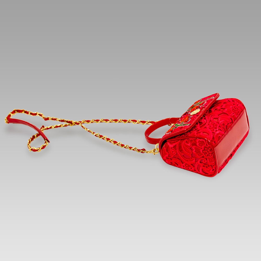 Valentino Orlandi Red Lace Beaded Embroidered Leather Top Handle Bag
