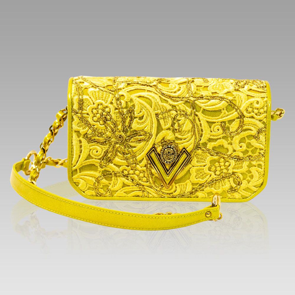 Valentino Orlandi Marigold Lace Embroidered Leather Messenger Bag