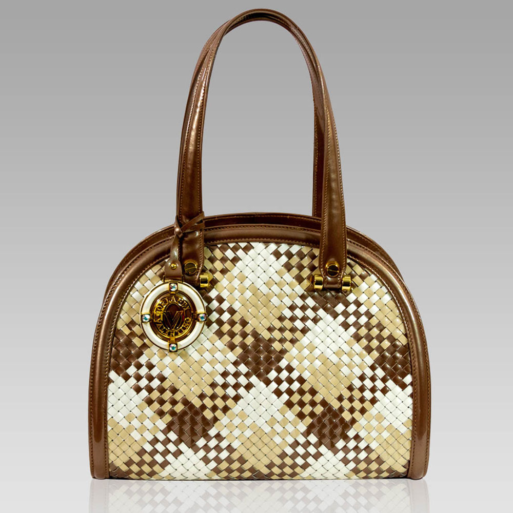 22cb2b9eda2e44 Valentino Orlandi Bronze Intrecciato Woven Leather Purse Bowling Bag ...